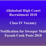 Allahabad HC Recruitment 2018 Class 4 Recruitment Vacancy Sweeper Mali Posts