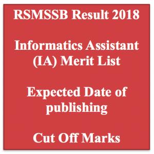 rsmssb informatics assistant result 2018 merit list expected cut off marks publishing date merit list ia result rajasthan.rsmssb.gov.in