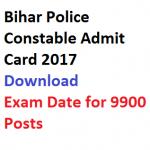 Bihar Police Constable Admit Card 2017 Exam Date Download CSBC