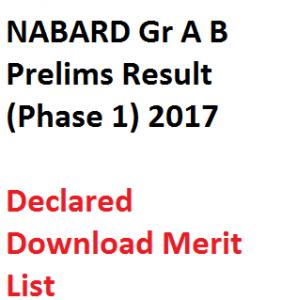 nabard grade a b result 2017 prelims merit list download assistant manager officer phase 1 shortlist link pdf