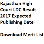 Rajasthan High Court LDC Result 2017 Cut Off Marks Date