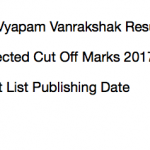 MP Vyapam Forest Guard Result 2017 Vanrakshak Merit List Cut Off