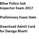Bihar Police SI Admit Card Download 2018 Exam Date Prelims BPSSC