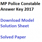 MP Police Constable Answer Key 2017 Model Solution Sheet Download
