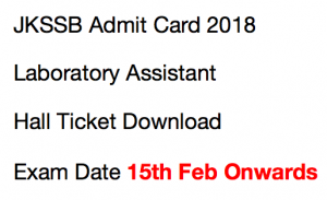 jkssb admit card laboratory assistant lab hall ticket 2018 download exam date jammu and kashmir J&K jk