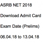 ARS NET Admit Card 2018 ASRB Download Hall Ticket Exam Date