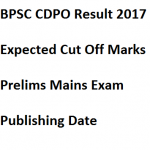 BPSC CDPO Expected Cut Off Marks 2017 Result Merit List Date