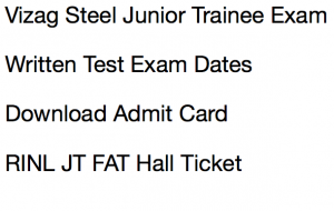 vizag steel junior trainee exam date 2017 admit card download expected publishing date new re exam test date written test hall ticket publishing expected date rinl vizag steel plant vishakhapatnam