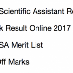 SSC Scientific Assistant Result 2017 Cut Off Marks Publishing Date