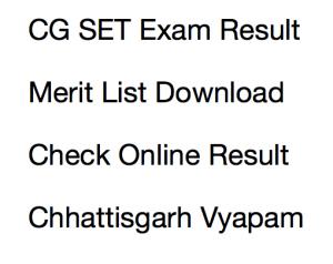 cg set result 2017 2018 merit list expected cut off marks chhattisgarh state eligibility test