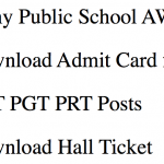 Army Public School Admit Card 2018 AWES PRT PGT TGT Teacher APS