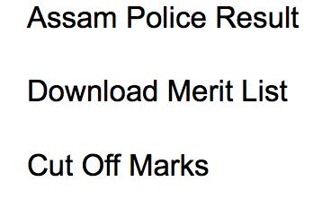 Assam Police Constable Result 2017-18 Merit List DECLARED
