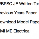 WBPSC JE Previous Years Question Paper Download PDF Solved MCQ