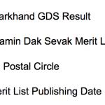 Jharkhand GDS Result 2017 Gramin Dak Sevak Merit List New Date