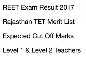 reet result 2017 2018 merit list rajasthan tet expected cut off marks merit list selection list waiting list level 1 2 publishing date