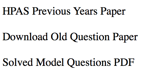 HPAS Previous Year Question Paper Download Solved Prelims