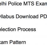 Delhi Police MTS Syllabus 2018 Exam Pattern Download Selection Process