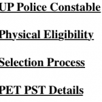 UP Police Constable Physical Eligibility Criteria PET PST Test Selection Process