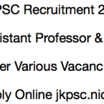 JKPSC Assistant Professor Recruitment 2018 Vacancy