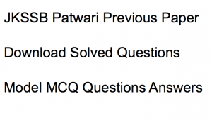 jkssb patwari previous years question paper download solved pdf set old solved questions answers jammu and kashmir jkssb