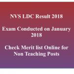 NVS LDC Result 2017-18 Cut Off Non Teaching Navodaya Vidyalaya