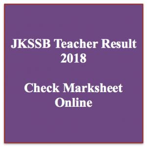 JKSSB General Teacher Result 2019 Cut Off Marks Merit List