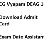 CG Vyapam Assistant Admit Card 2018 DEO Hall Ticket DEAG18 AG 3