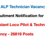 Loco Pilot Recruitment 2018 Railway RRB ALP Vacancy Application Form