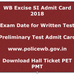 WB Excise SI Admit Card 2018 Exam Date Prelims Written Test WBPRB