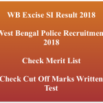 WB Excise SI Result 2018 Cut Off Marks Expected Publishing Date