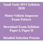 TNPSC MVI Syllabus 2018 Motor Vehicle Inspector Exam Pattern Download