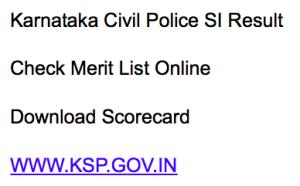 karnataka state police si result 2018 merit list ksp sub inspector si posts check online