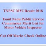 TNPSC MVI Result 2018 Cut Off Marks Motor Vehicle Inspector Exam