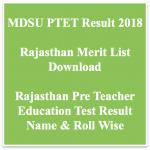 Rajasthan PTET Result 2018 Name Wise Merit List Result Date Raj