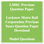 LMRC Previous Years Question Paper Download SCTO JE Maintainer