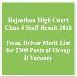 Rajasthan High Court Peon Result 2018 Cut Off Marks Class 4 Merit List
