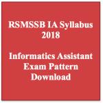 RSMSSB Informatics Assistant Syllabus 2018 IA Exam Pattern Download