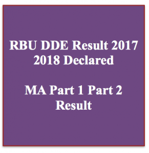 rbu dde result 2018 part 1 part 2 result check online rabindra bharati result rbu dde distance education www.rbudde.in