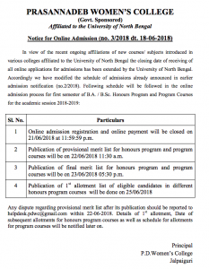 pd womens college merit list 2018 result admission online application form last date