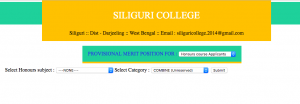 siliguri colleg provisional merit list honours