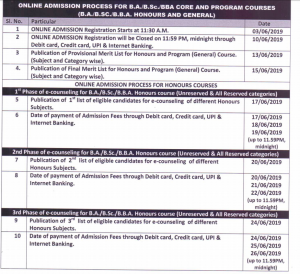 dhupguri college admission schedule 2019-20 1st year UG course