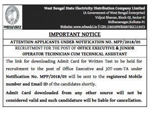 notice regarding wbsedcl office executive admit card download 2019