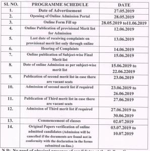 Yogoda Satsanga Palpara Mahavidyalaya admission schedule