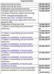 dantan 2 govt college admission schedule 2019