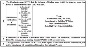 gujarat high court senior bailiff process server result documents verification schedule