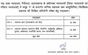 uksssc junior assistant exam syllabus 2019 in hindi download pdf