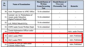 apsc exam calendar ae je exam date