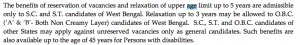 wbpsc ward master recrutment upper age limit relaxation