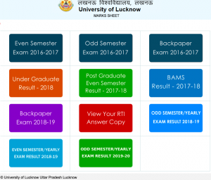 Lucknow University PG UG 1st 2nd 3rd 4th 5th 6th Semester Result 2020 Download @ lkouniv.ac.in