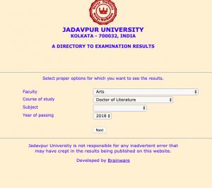 Jadavpur University Result 2020 Download
